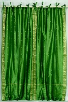 Indo Forest Green Tie Top / Ribbon Top Sari Sheer Curtain (43 in. x 84 in.) by Indian Selections, http://www.amazon.com/dp/B004XVM9D8/ref=cm_sw_r_pi_dp_YhBerb10M4MQK