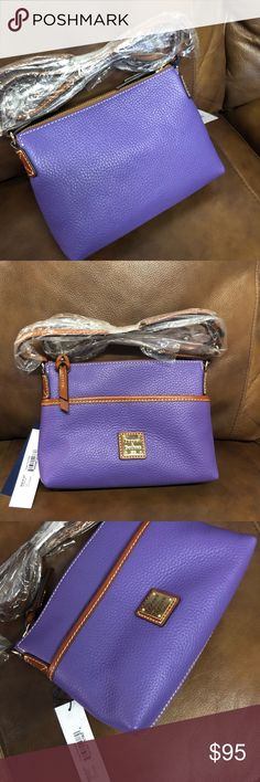 Dooney Ginger Pouchette Crossbody  Amethyst Purple Dooney Ginger Pouchette in a lovely shade of purple called Amethyst. Perfect condition never used.  Dust bag is included. Will ship bubble wrapped or padded in a Tyvex type bag.   Paid..$128 I think??   Non smoking, non cat home but we do have a lab dog, however bag has been stored in sealed plastic tote since purchase with all my Dooneys.   Only possible trade is very specific Dooney bags or specific tieks size 9.   Any questions let me…