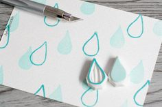 raindrop stamp, tear drop rubber stamp, rain drops rubber stamp, liquid stamp, border stamp, water drop rubber stamp, from byhoneysuckle on Etsy.