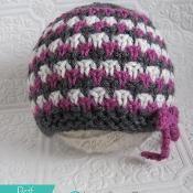 Color Stripe Beanie with Bow - via @Craftsy