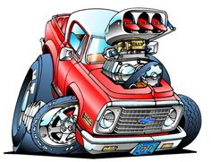 Love the artwork of Ed Roth. This is my place for Rat Fink, Roth Art and others that are Roth like. Any Rat Rod style art as well Cartoon Kunst, Cartoon Drawings, Cartoon Art, Art Drawings, Rat Fink, Weird Cars, Cool Cars, Ed Roth Art, Cool Car Drawings
