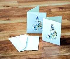 Note Cards Set of  5 Peacock Watercolor Painting by CreativesByCourtney on Etsy