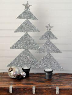 DIY Styrofoam Glitter Trees! #christmascrafts