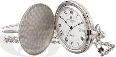 Silver Tone Quartz Charles Hubert Pocket Watch & Chain #3940