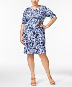 Karen Scott Plus Size Floral-Print Dress, Only at Macy's - Blue 2X 2X