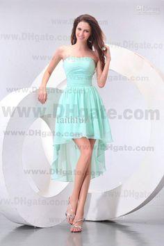 Aqua High Low Homecoming Dresses Chiffon Strapless Zipper Pleated New Cocktail Dresses Mini Dresses