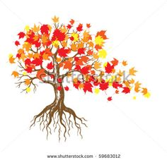 Autumn Maple Tree With Falling Leaves Stock Vector 59683012 ...