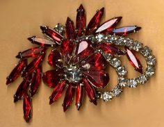 vintage rhinestone finding retro flower design, easily attachable for your next project ruby glass purpose vintage finding by beadtopiavintage on Etsy