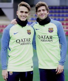 Sergi Roberto & Denis Suarez during FC Barcelona training session at the Joan Gamper training camp 23/01/2017