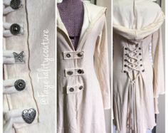 corset laced Taupe bamboo steampunk hoody by FayeTalityCouture