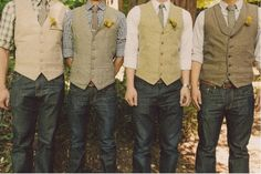 Pick a pair of dark jeans and dress it up with a classy vest, collard shirt and tie and you have some seriously country chic groomsmen! Description from bellaannouncements.com. I searched for this on bing.com/images