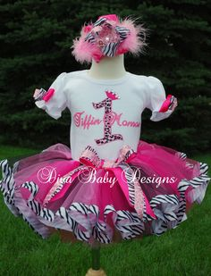 OTT Birthday Tutu Outfit -Pink Cheetah and Zebra print over the top ribbon tutu set Birthday Tutu, 1st Birthday Girls, Birthday Outfits, Tutu Outfits, Girl Outfits, Ribbon Tutu, Pink Cheetah, Thing 1, Tutus For Girls