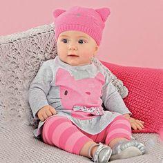 Amazon.com: BOBORA Baby Girl 2Pcs Cotton Top+Striped Pants Outfit Set 0-3Y S: Clothing