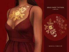 The Sims Resource: Gold Chest Tattoos by magnolia-c • Sims 4 Downloads