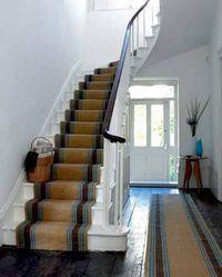 Sisal Stair Runner - love the stair basket Stairs, Floor Runners, Home, Stair Basket, Stairways, Sisal Stair Runner, Hallway Designs, Natural Flooring, Ideal Home
