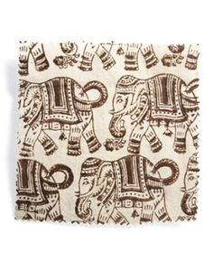 """""""I love the pattern of Petit Elephant [in Chocolate]. It's so universal,"""" says Ridder. """"It's a really pleasing brown, really chocolatey, and with that touch of red, it's great with aubergine, purples. I see it as pillows, or chair upholstery—the tight repeat makes it easy to work with. And it would look adorable as curtains, like a herd of elephants parading through the room."""" LES INDIENNES: 520-881-8122"""