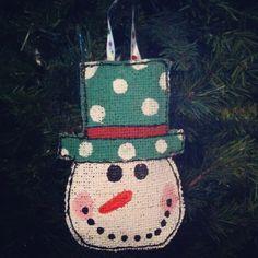 Santa Christmas Ornament Burlap Christmas by AllThingsareBrite