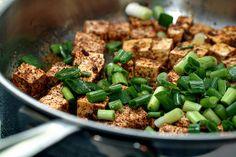 salt & pepper tofu: extra firm tofu, jalapeño pepper, fresh ginger, 5 spice powder, green onion