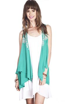 Embroidered Jade Layered Vest - Ashe Couture, Inc