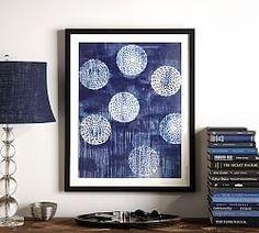 Framed Indigo Circles abstract print at Pottery Barn. Abstract Wall Art, Abstract Print, Gallery Wall Frames, Gallery Walls, Madhubani Painting, Madhubani Art, Mirror Art, Home Interior, Interiores Design