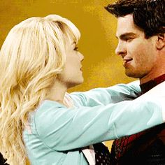 Emma Stone and Andrew Garfield kissing