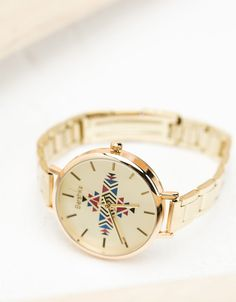 Ethnic print metallic watch - Watches - Bershka Philippines