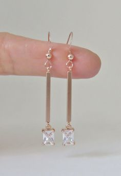 Rose gold earrings, bar earrings, rose gold bar earrings, crystal and rose gold, rectangle, cz, cubic zirconia, bar jewelry,elegant, wedding by MarciaHDesigns on Etsy https://www.etsy.com/listing/262091984/rose-gold-earrings-bar-earrings-rose