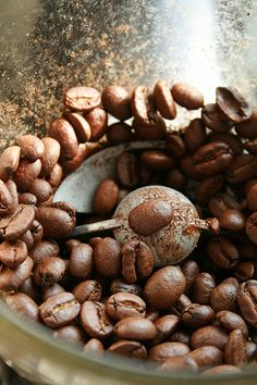 Grinding coffee. I love the smell of freshly ground coffee beans in the morning.