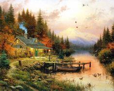 paintings | Thomas Kinkade Paintings, Thomas Kinkade Wallpapers, Art Print ...