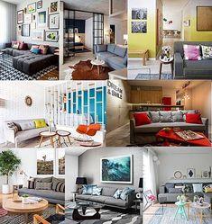 Eu pesquiso em centenas de blogs e sites nacionais e internacionais e estava aqui pensando em sobre o que escrever para vocês, olhando fotos e de repente percebi: Caramba! Como se repetem estas cores de sofá!!! Veja quais são...