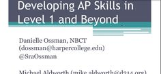 Danielle Ossman, NBCT & Michael Aldworth Session title: Best of Illinois: Developing AP Strategies in Level 1 and Beyond