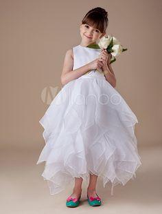 Elegant White Sleeveless Satin Organza Flower Girl Dress - Milanoo.com