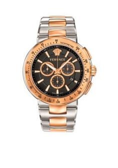 Versace Mens Mystique Black Sterling Silver And Rose Gold Plated Watc
