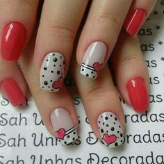 When looking for inspiration, especially for Valentine's Day, you need to concentrate on the common vday theme Your typical red, white and black is always a solid choice but other abstract colors can be great too - nails Cute Nails, Pretty Nails, Valentine Nail Art, Nagellack Design, Pedicure Nail Art, Trendy Nail Art, Nail Art Hacks, Holiday Nails, Simple Nails