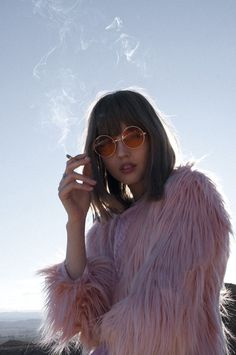 ☆ pinterest: lilosplanets ☆ Pink fur coat red sunglasses smoking aesthetic
