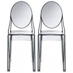 Shop for 2xhome - Set of Two (2) - Smoke - Victorian Ghost Chair Clear Side Chair Armless. Get free shipping at Overstock.com - Your Online Furniture Outlet Store! Get 5% in rewards with Club O!