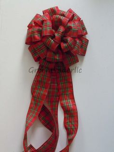 Red Green Plaid Christmas Wreath Bow Rustic Christmas tree topper bow by greentraderllc,