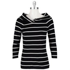 Striped Knit Pullover with Twisted Neck