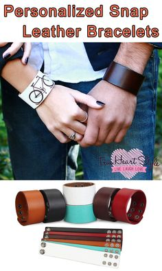 """THS BEST SELLER - PERSONALIZED WIDE LEATHER CUFF BRACELET, ENGRAVED WITH YOUR CUSTOM MESSAGE, 1.5"""" WIDE. SNAP CLOSURE http://www.trueheartstyle.com/collections/snap-closure-leather-bracelets/products/personalized-wide-leather-cuff-bracelet"""