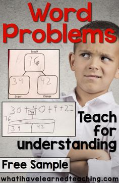 How do you teach students to truly understand word problems? By helping them to understand the relationship of the numbers and the context of the problem. Some great strategies for teaching word problems. Math Lesson Plans, Math Lessons, Guided Math, Math Math, Math Games, Math Fractions, Teaching Subtraction, Math Addition, Teaching Addition