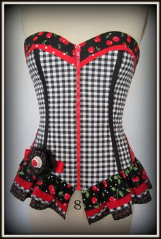 Cherry Burlesque Corset with Ruffles Lace-up and a Separating Zip. $180.00, via Etsy.