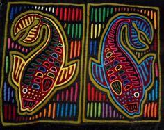 Kuna Indian Hand-Stitch Fantastic Fish Mola Art-Panama 16030201L