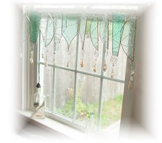 Fresh as a Sea Breeze Frosty Stained Glass Window Treatment Valance. $88.00, via Etsy.