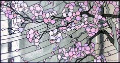 Cherry blossoms in stained glass