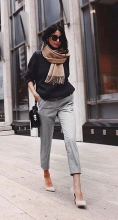 fall street style. tailored trousers. knit top. nude fringe scarf.