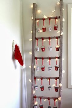 what to put in an advent calendar. Advent Calendar on a Vintage Ladder For Christmas Christmas Calendar, Christmas In July, All Things Christmas, Simple Christmas, Christmas Crafts, Christmas Decorations, Christmas Ideas, Xmas, Christmas Tables