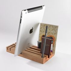 A handcrafted desk organizer that can hold your tablet.