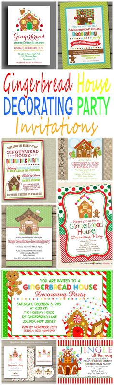 20 DIY Printable Gingerbread House Decorating Party Invitations