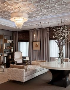 Use molding to create an eye catching, textural ceiling.