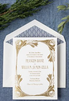 blue and gold foil art nouveau wedding invitation by hello tenfold